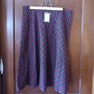 Plad black red and white skirt. Price is firm.